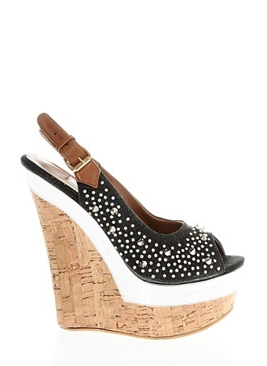 Casa Rossi Platform Dolgu Topuklu Ayakkabı Siyah